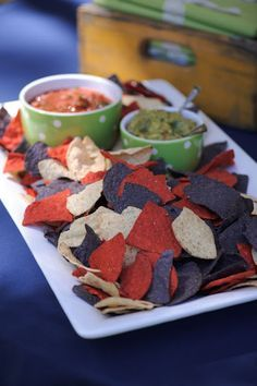 Red, white and blue corn chips – terrific for a 4th of July party.