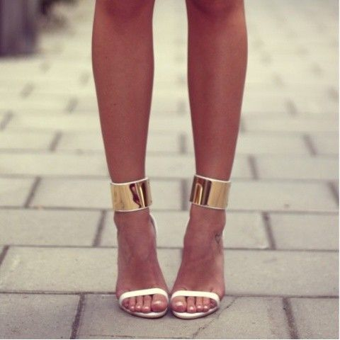 gold & white strappy heels. classy & sexy!