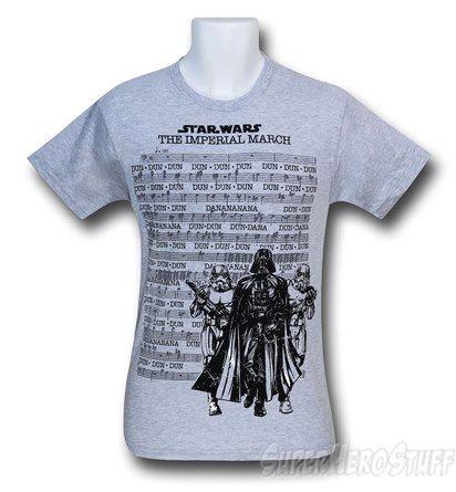 Star Wars Marching Music Grey 30 Single T-Shirt Omg a music major's/star wars nerd's dream shirt!!