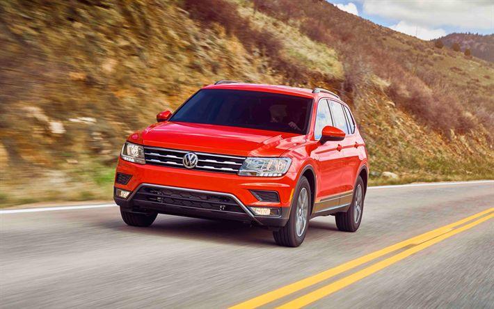 Descargar fondos de pantalla Volkswagen Tiguan, 4k, 2017, Crossover, coches nuevos, rojo Tiguan, los coches alemanes, Volkswagen