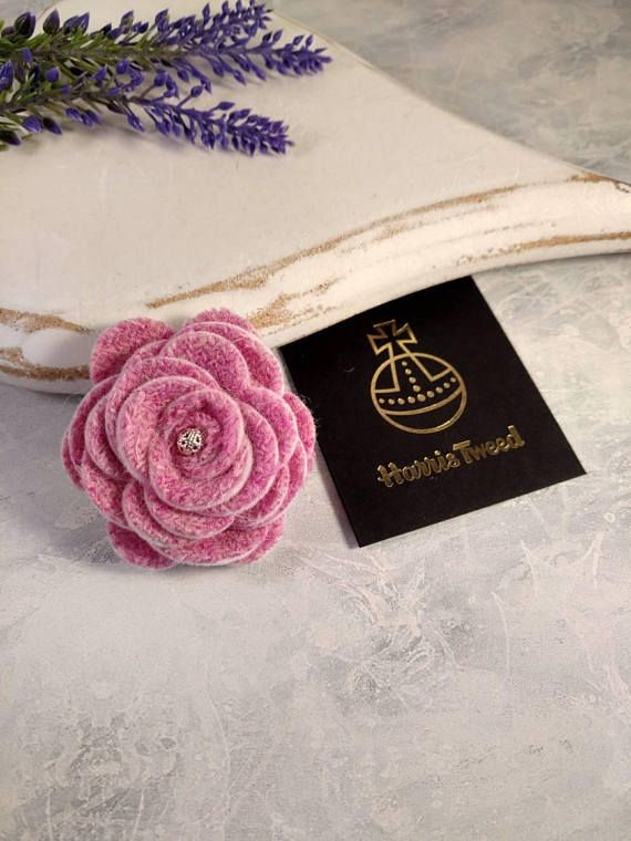 Pink Harris Tweed rose brooch pink brooch pink corsage