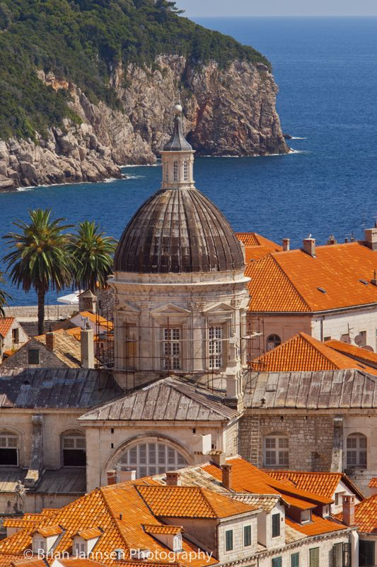 Church domes and colorful tiled roofs of Dubrovnik, Dalmatia Croatia. © Brian Jannsen Photography