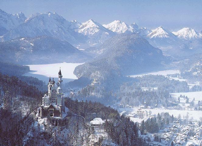 Neuschwanstein Castle in Winter Bavaria Germany Neuschwanstein Castle