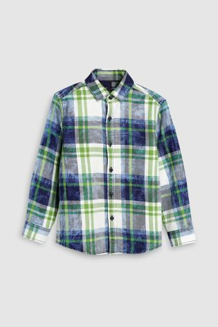 caf64e16e1 Indigo Long Sleeve Washed Check Shirt (3-16yrs)