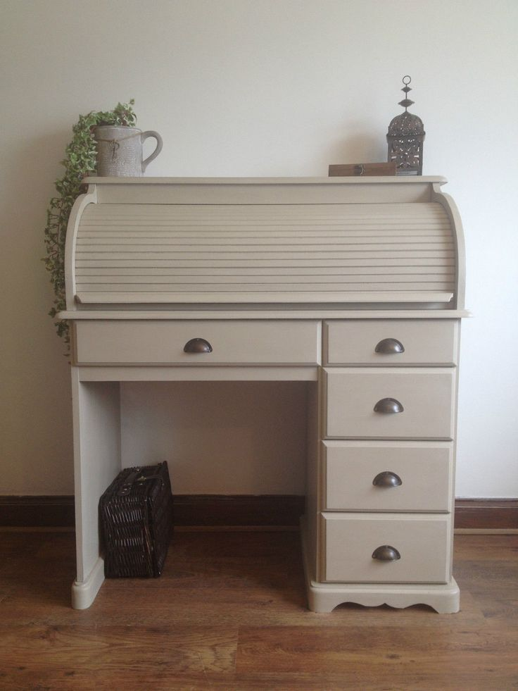 stunning shabby chic pine roll top desk painted annie sloan country grey - Rolltop Desk