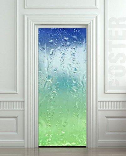 "Door STICKER drops rain window dew mural decole film self-adhesive poster 30x79""(77x200 cm) /   pulaton - Print on ArtFi"