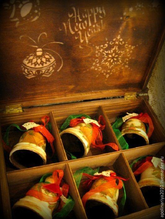 Купить Колокольчики деревянные в коробке - бежевый, колокольчики, колокольчик ручной работы, Декупаж, винтаж и ретро