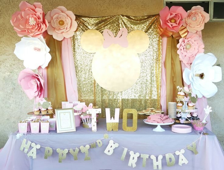 Pink and gold Minnie Mouse birthday party. Backdrop candy ...