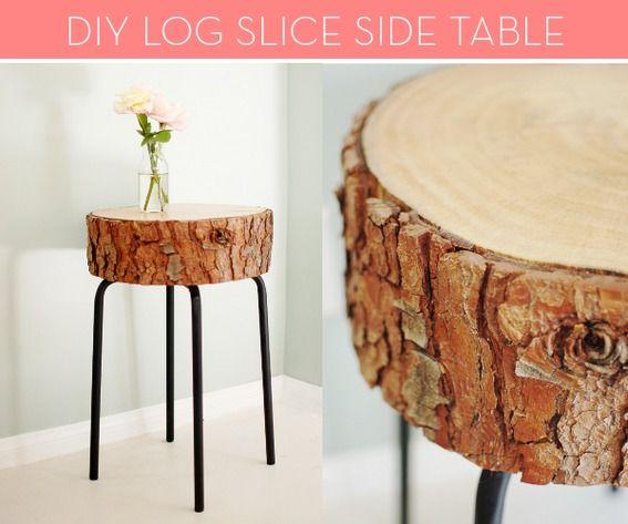 #DIY log slice side table -- so easy!
