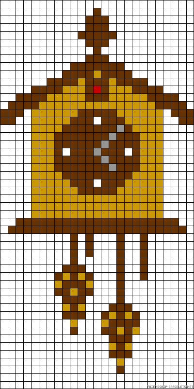 Birdhouse clock perler bead pattern