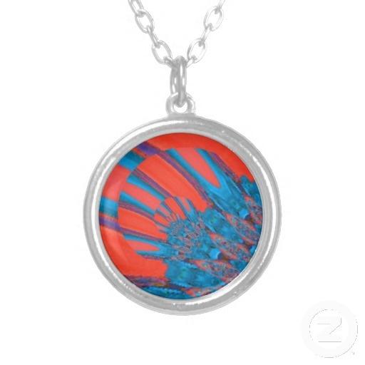 Blue/Orange Streaks Digital Art Necklace