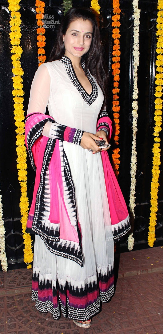 Ameesha Patel in an elegant white anarkali