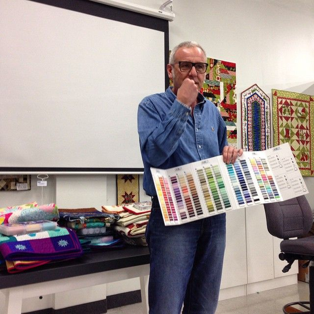 @hilaryfrye's pic on IG: Saw Alex Veronelli speak about his passion for Aurifil thread tonight at Blue Bamboo.  #aurifil #quilting #sewing #embroidery
