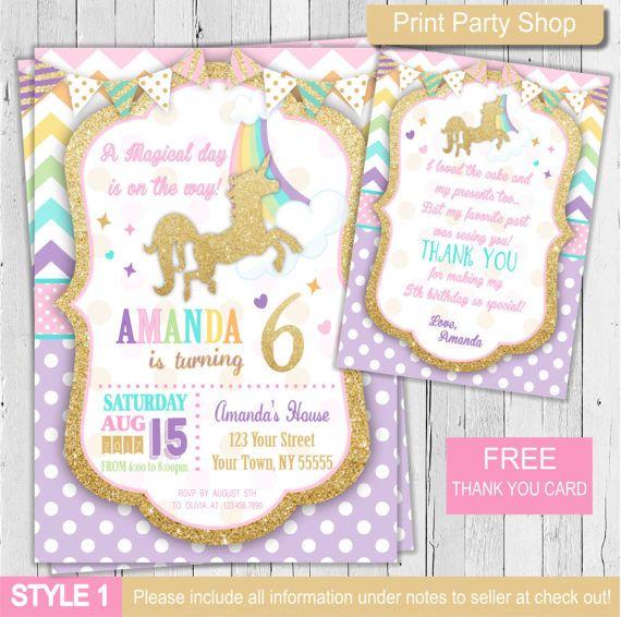 Invitación de unicornio / mágico unicornio invitación / invitación de cumpleaños de unicornio / imprimibles invitación