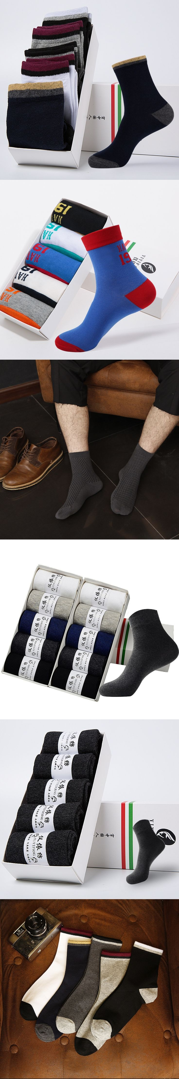5 Paris /lot Long Socks Set Business Men Casual Bamboo Socks Solid Stripe Deodorant Male Combed Cotton Colorful Funny Happy Sock