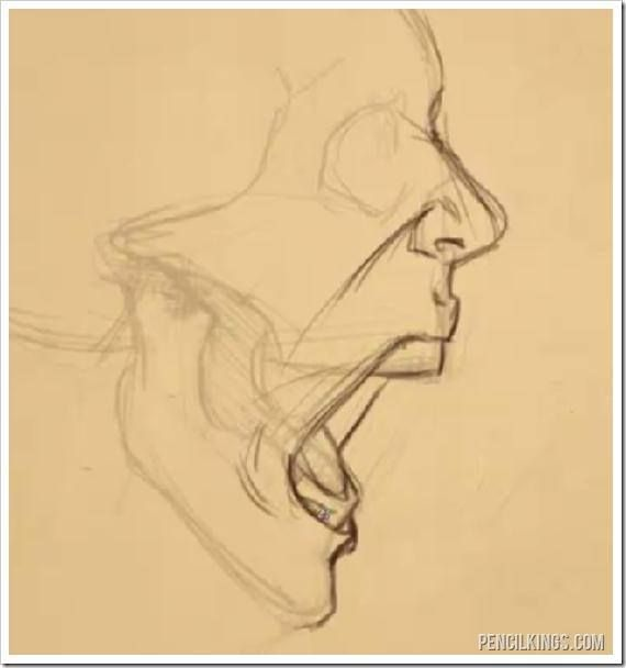 drawing a screaming mouth adding skin