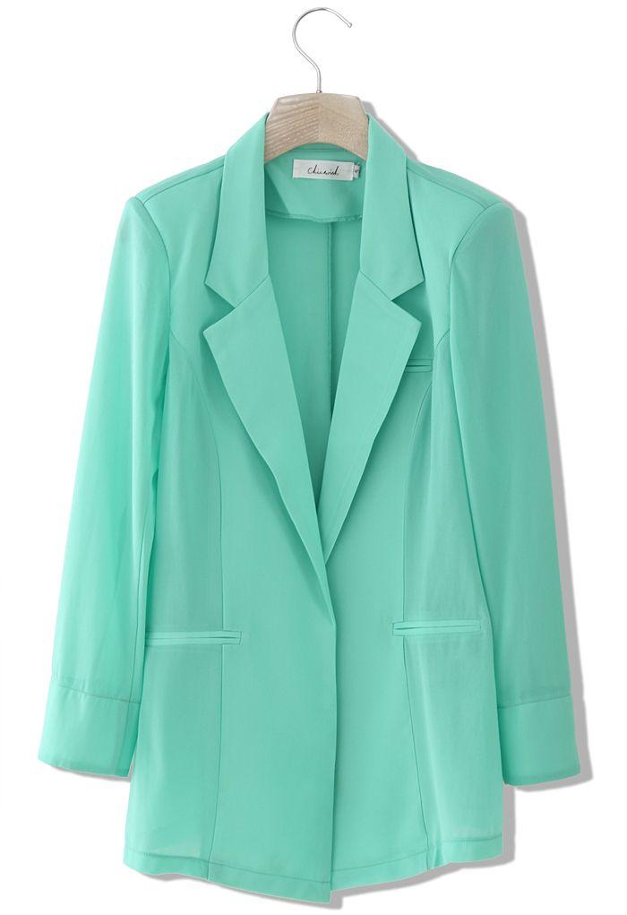 Chicwish Mint Green Chiffon Blazer - New Arrivals - Retro, Indie and Unique Fashion