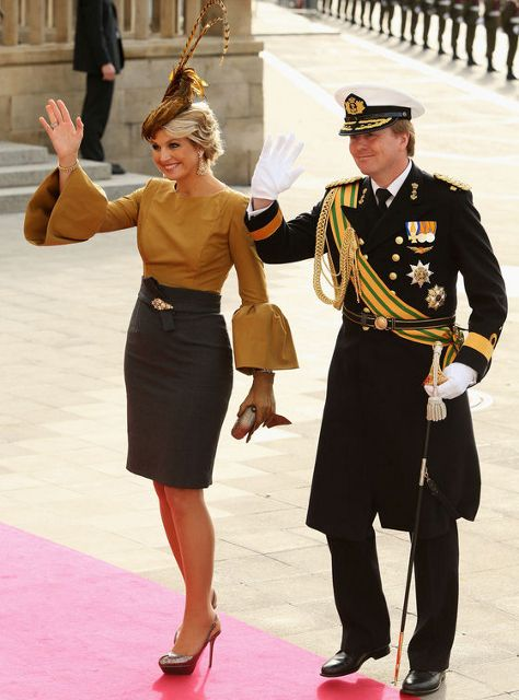Luxembourg Wedding: Dutch Royal Family...Posted on October 20, 2012 by HatQueen....Queen Beatrix, Prince Willem Alexander and Princess Máxima represented the Dutch Royal Family at this event.