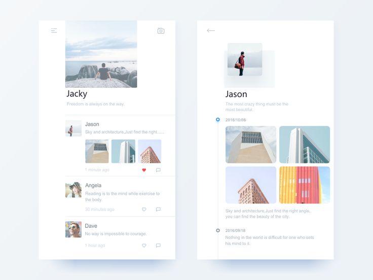 Lightweight Social App Concept Design by Jian #Design Popular #Dribbble #shots