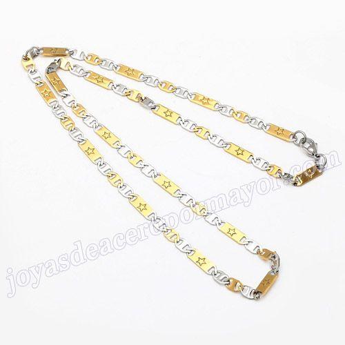 Material:Acero Inoxidable     Nombre:Doble tono de cadenas acero de 54cm   Model No.:SSNE007   Talla:55cm,4.5mm width