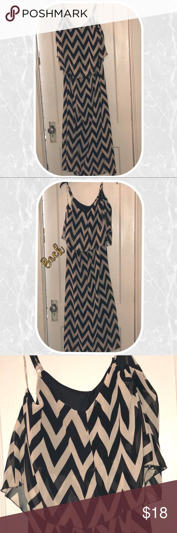 """⚡️BOGO 1/2 OFF⚡️STRAPLESS CHEVRON MAXI DRESS 💜 🎉HOST PICK: EVERYTHING PLUS SIZE PARTY 12/12/17🎉  1X Brown & tan chevron print dress Strapless Ruffled bust area Black slip underneath (as shown)  A barely few runs on the dress front & back (as pictured) Very long & flowy  Worn twice, great condition   Bust: 21.5"""" Waist: 15.5"""" Length: 55"""" Magic Dresses Strapless"""