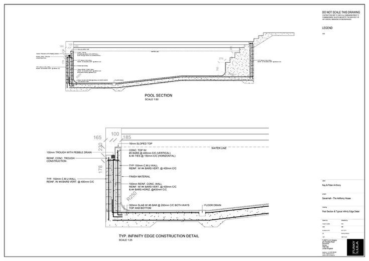 Pool section typical infinity edge detail kb for Swimming pool construction details