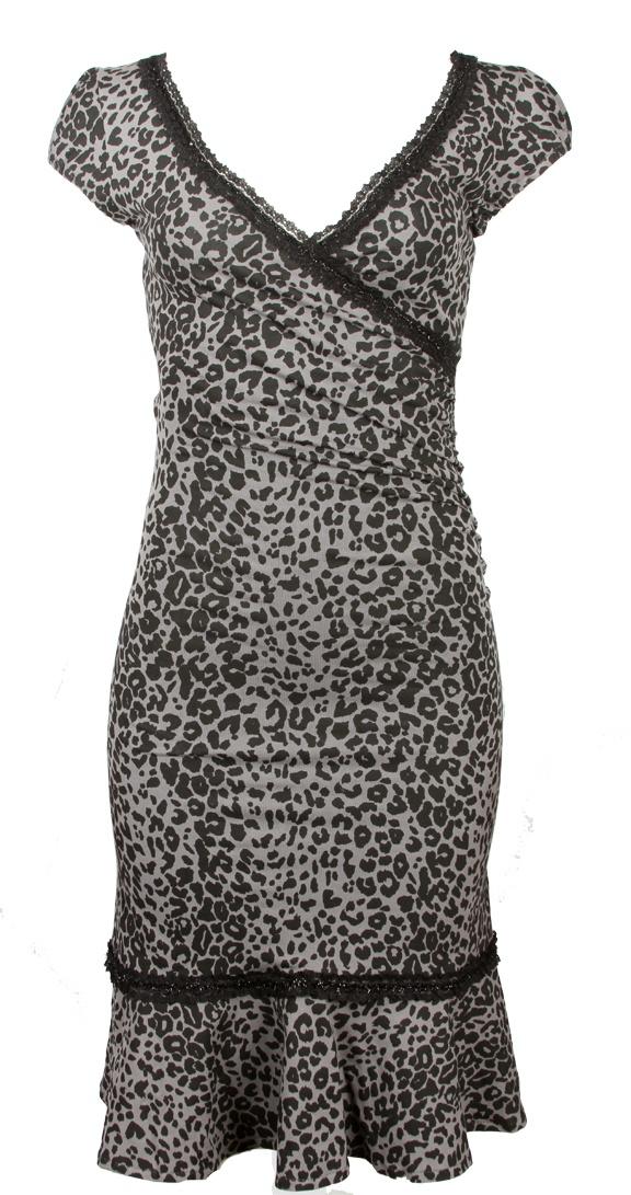 Bordello dress black leopard