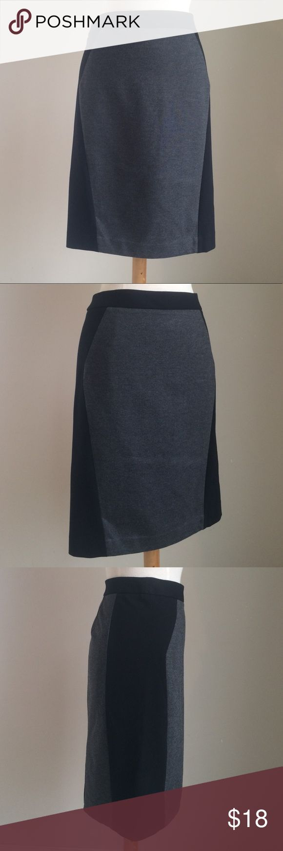 LOFT Pencil Skirt Ann Taylor LIFT grey with black side panels pencil skirt.   Size 10 Body:  71% rayon/25%nylon/4% spandex Side panels:  67% rayon/29% nylon/4%spandex  100100 LOFT Skirts Pencil