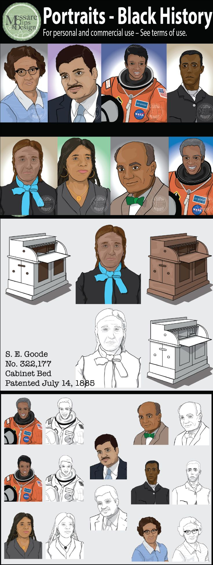 "This custom portrait set of professionals, mathematician, astronauts etc designed to support lessons for Black History Month.  -Sarah Goode - Entrepreneur and inventor & First African American woman to receive a patent -Sarah Goode's -Thomas L. Jennings -David Blackwell - Emeritus of Statistics at the University of California, Berkeley until 2010 -Katherine Johnson  -Neil DeGrasse Tyson - Astrophysicist -Guion ""Guy"" Bluford - NASA  -Dr. Mae Jamison - NASA  -Reva K. Williams"