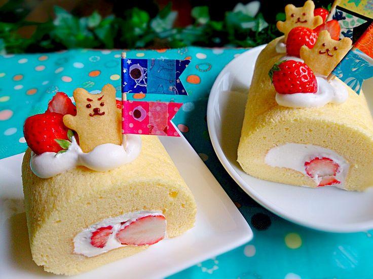 yu uy's dish photo りずむさんのシフォンロールケーキ で こどもの日ロール   http://snapdish.co #SnapDish #レシピ #おやつ #キャラクター #こどもの日 #ケーキの日(1月6日) #ケーキ