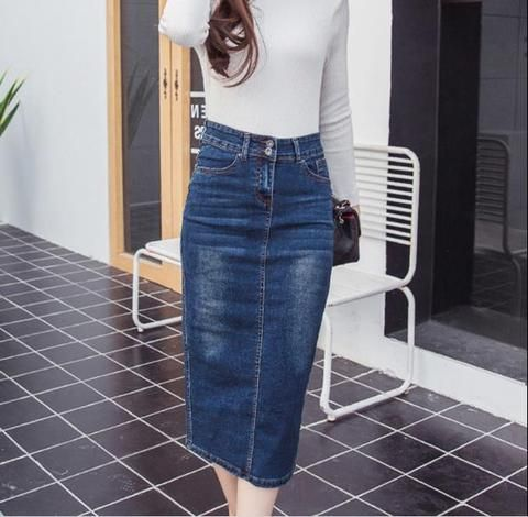 1123fa7f604 2018 Denim Skirt Vintage Button High Waist Pencil Black Blue Slim Women  Skirts Plus Size S-2XL Ladies Office Sexy Jeans RQ80