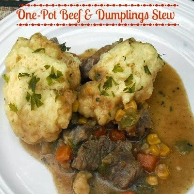 One Pot Beef and Dumplings Stew ~ rich and filling stew with feather light dumplings