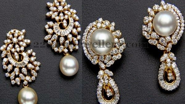 Jewellery Designs: Flawless Pearls Diamond Earrings