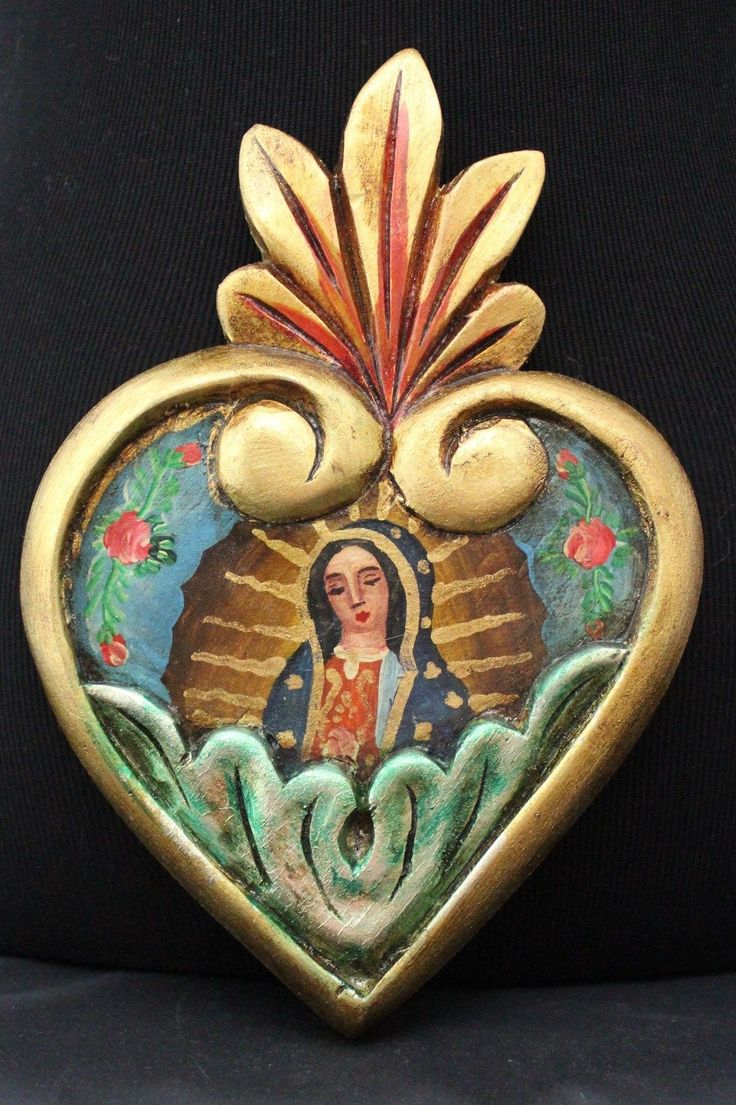 Hand Carved Painted Heart Our Lady of Guadalupe Patzcuaro Mexican Folk Art | eBay