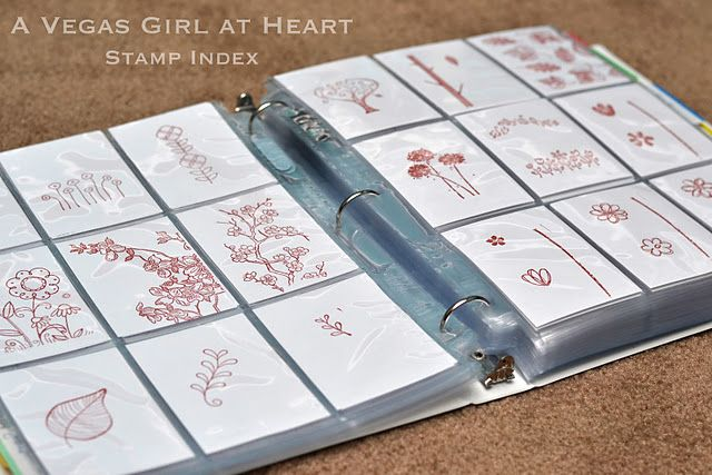 rubber/clear stamp index in a 3 ring binder. organizing stamps.