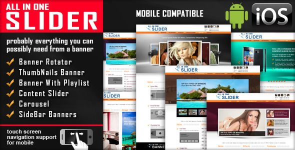 All In One Slider Responsive Jquery Slider Plugin . All has features such as Compatible Browsers: IE7, IE8, IE9, IE10, IE11, Firefox, Safari, Opera, Chrome, Software Version: jQuery