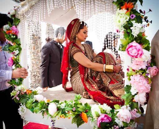 129 best indian weddings images on pinterest indian bridal indian flower decorated white doli junglespirit Images