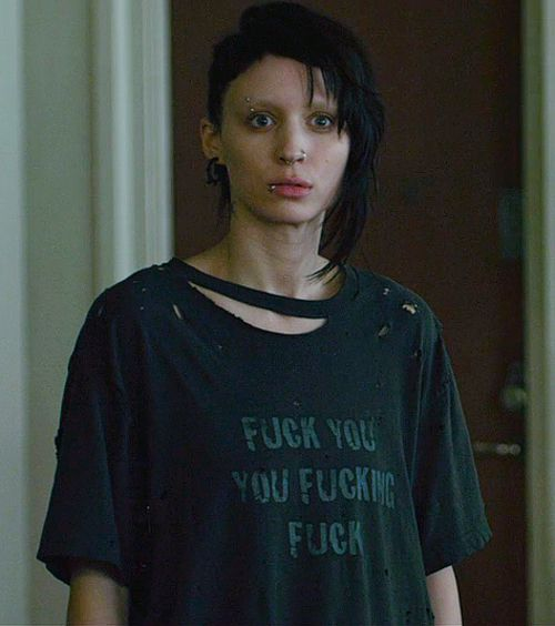 as Lisbeth Salander... I want this t shirt to wear around my house while holding my cats.