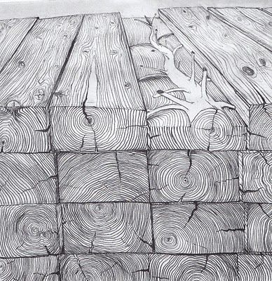 PENONE, Les arbres des poutres, 1970, crayon sur papier
