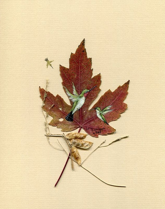 Hummingbirds painted on Maple leaf signed and by LoisArmstrongArt, $18.00