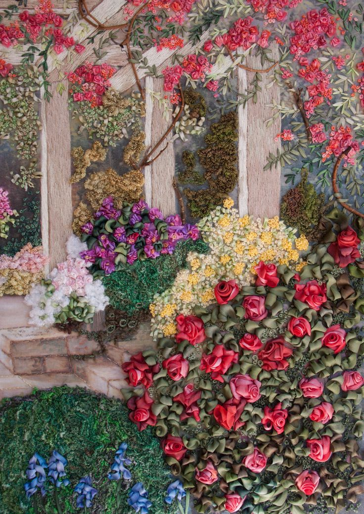 Ribbon Embroidery - landscape with climbing rose, rose bushes, shrubbery, etc.