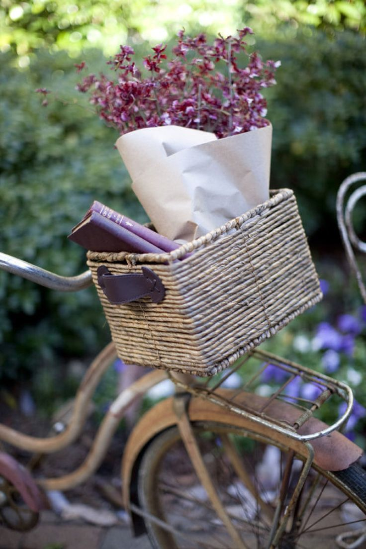 cute flower basket on a vintage bike