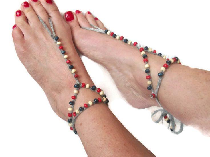 Beaded Barefoot sandals. Crochet, Beach Yoga Festival Nautical, Tribal anklet,Red White and Blue by thekittensmittensuk on Etsy
