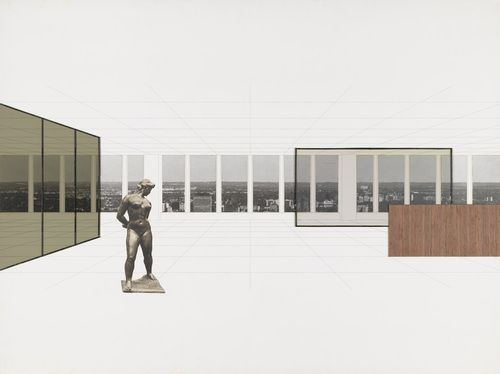 Ludwig Mies van der Rohe. Georg Schaefer Museum Project, Schweinfurt, Germany, Interior perspective with view of site. 1960-1963