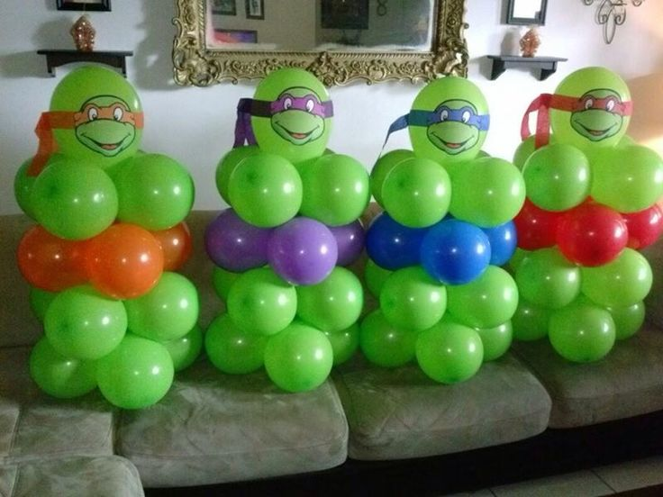 Teenage Mutant Ninja Turtles balloon centerpiece  table ... shellysdecor4you@gmail.com #Birthdays #BabyShowers #Graduations etc...