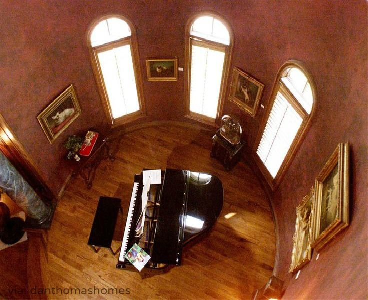 Bird's-eye view of grand piano. There isn't much you can do in a circular room, which makes it a perfect spot for the practice sanctuary