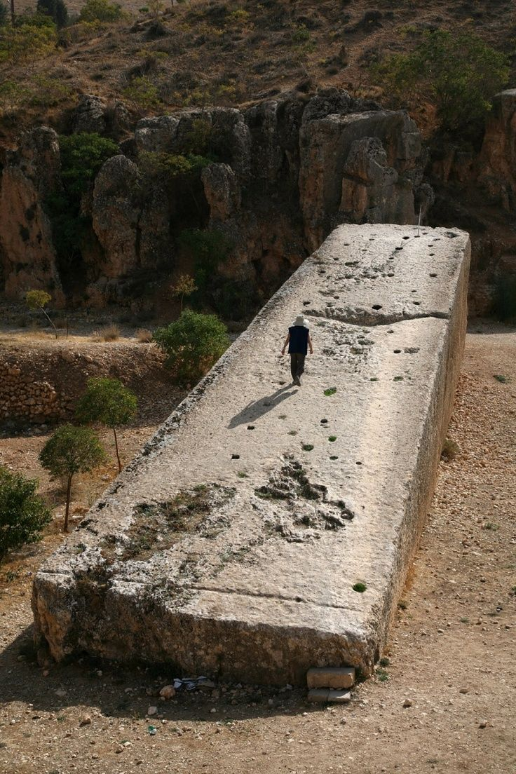 Stone of the pregnant woman, Baalbek Temple, Lebanon. Considered the largest hewn stone in the world, still sits where it was cut almost 2,000 years ago. (Some say 12,000 years ago) It weighs an estimated 1,000 tons. Not even our biggest and best cranes in modern times could lift this stone block, so how on earth was it moved to its present position?