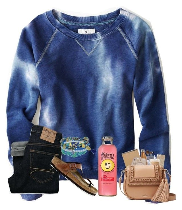 """Untitled #171"" by bryleighs ❤ liked on Polyvore featuring American Eagle Outfitters, Hollister Co. and Birkenstock"