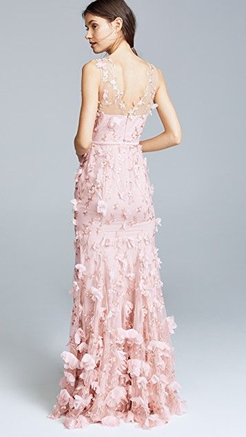 b2c2ec0d Embroidered Gown with 3D Flowers | Evening gown | Gowns, Marchesa ...