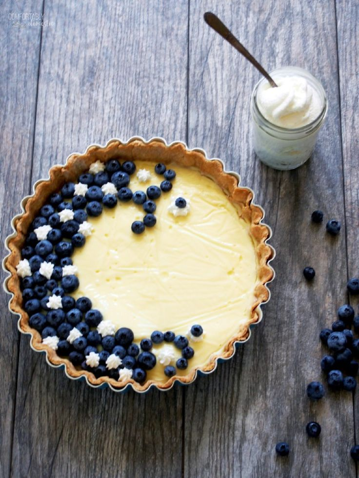 Vanilla Custard Tart with Blueberries and Cream - Comfortably Domestic /comfortdomestic/